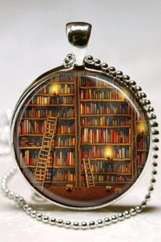 Library Book Necklace Glass Dome Art Pendant with Ball Chain Included