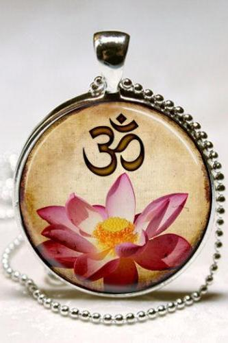 Yoga Jewelry Om Necklace Pink Lotus Blossom Flower Art Pendant with Ball