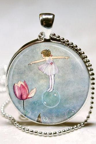 Flower Fairy Necklace Woodland Fairies Fantasy Art Pendant with Ball Chain