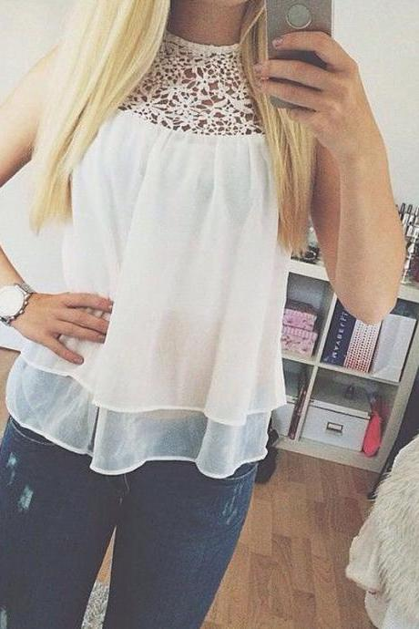 New Women Casual Chiffon Blouse Sleeveless Tank Shirt T-shirt Summer Blouse Tops
