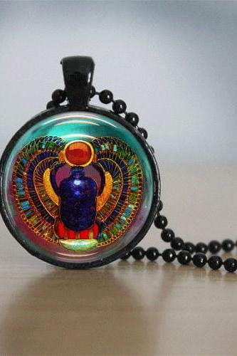 Scarab Necklace Glass Tile Necklace Egyptian Necklace Glass Tile Jewelry