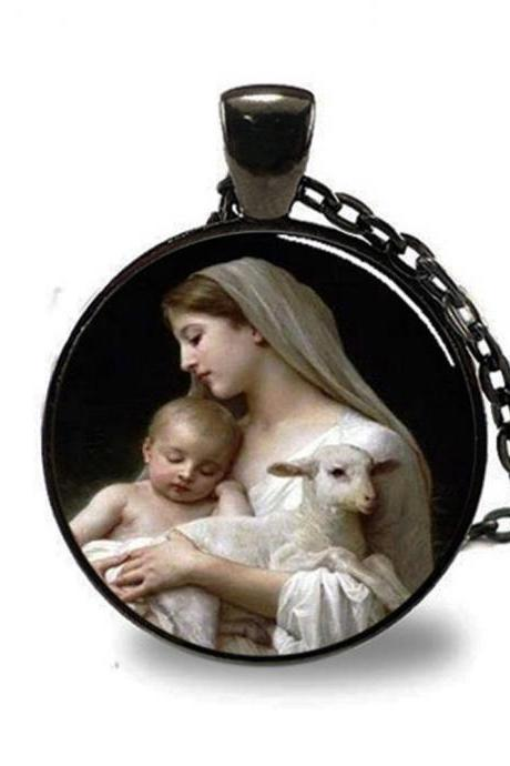 Nativity Pendant Virgin Mary Jesus and Lamb , Spiritual Jewelry , Christmas