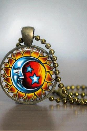 Glass Tile Necklace Sun and Moon Necklace Glass Tile Jewelry Celestial