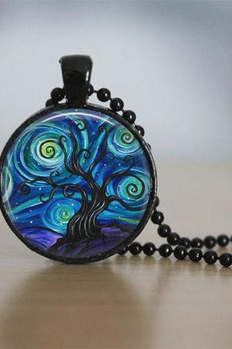 Glass Tile Necklace Tree Necklace Tree of Life Glass Tile Jewelry Tree Jewelry