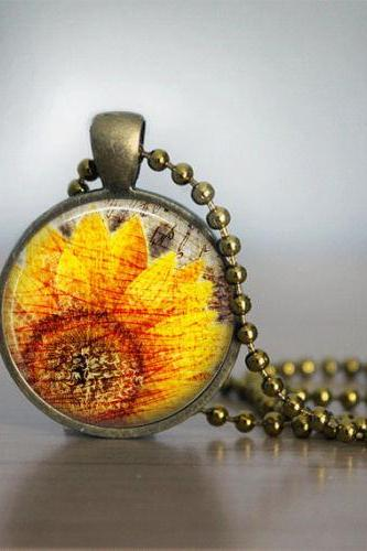 Glass Tile Necklace, Sunflower Necklace, Glass Tile Jewelry, Flower Necklace