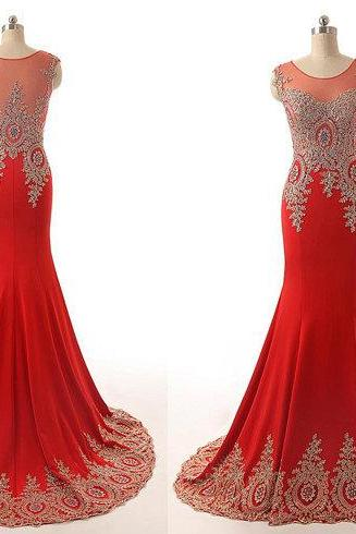Scoop Appliques Lace Gold And Red Mermaid Chiffon Long Prom Dress Evening Long Dress Long Chiffon Dress