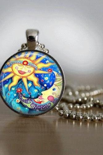 GlassTile Necklace Sun and Moon Necklace Glass Tile Jewelry Celestial