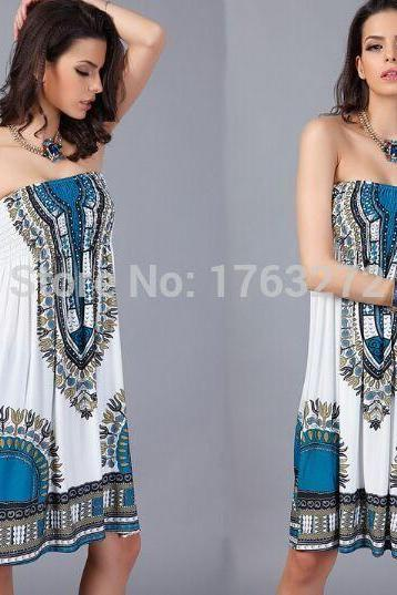 bohemian Retro cover up swimwear women dress V-Neck ladies beachwear milk silk dress wholesale