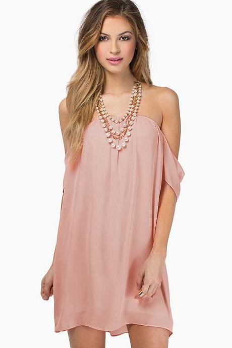 Chiffon Off-The-Shoulder Shift Dress