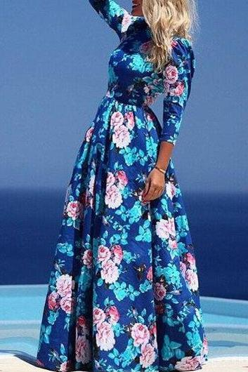 Fashion Navy Blue Round Neck Floral Printed Maxi Dress