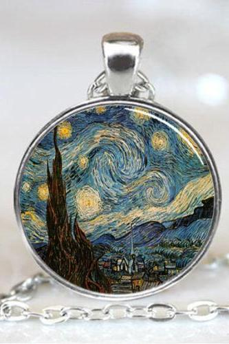 Starry Night Pendant, Starry Night Necklace, Vincent van Gogh Pendant