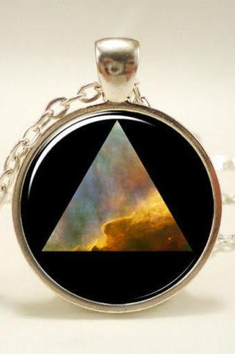 Galaxy Triangle Necklace, Hipster Nebula Jewelry, Universe Pendant