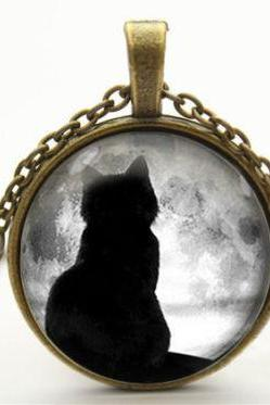 cat necklace full moon necklace moon necklace pendant