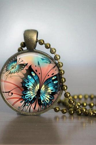 Butterfly Necklace Glass Tile Necklace Blue Coral Bronze Necklace Bronze Jewelry