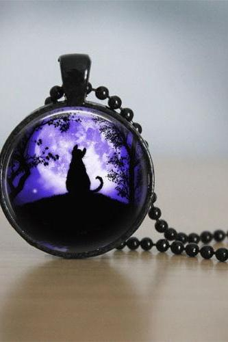 Cat Necklace Glass Tile Necklace Moon Jewelry Moon Necklace Black Necklace