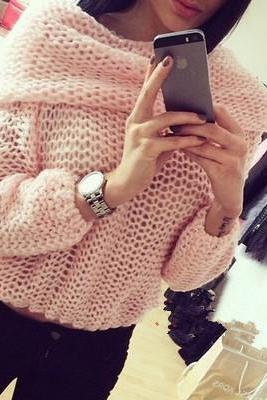 Loose long-sleeved knit sweater DX9603FP