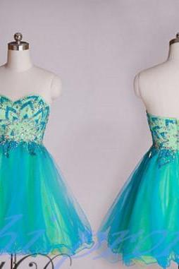 Bud Green Homecoming Dress,Sparkle Homecoming Dresses,2015 Style Homecoming Gowns,New Fashion Prom Gowns,Beading Sweet 16 Dress,Blue Homecoming Dresses,Tulle Cocktail Dress,Short Evening Gowns