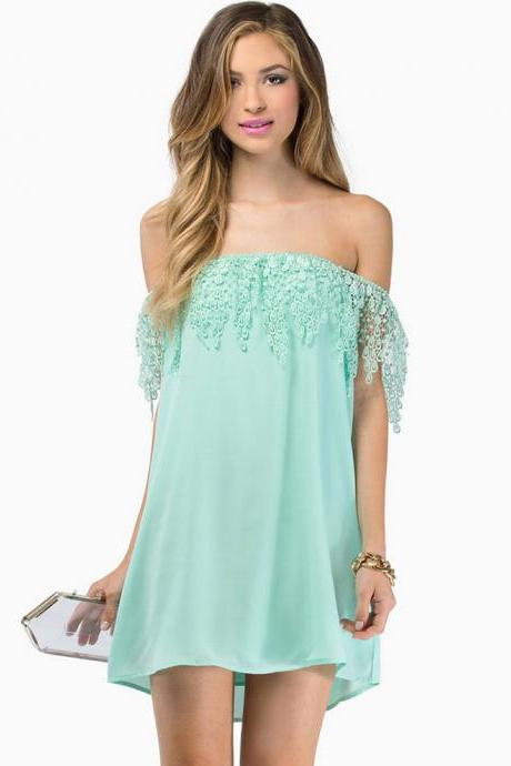 Lace Appliquéd Chiffon Off-the-Shoulder Short Shift Dress