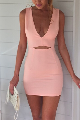 Slim V-neck sleeveless pink dress FV9608GH