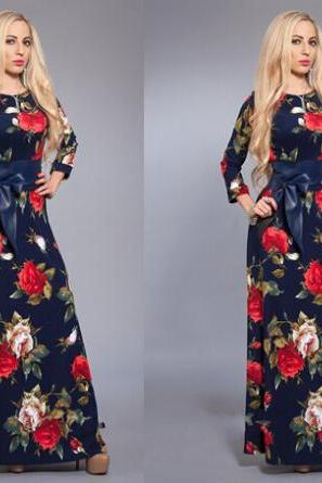 Blue Floral Printed Long Sleeve Maxi Dress, Graduation Dress with Ribbon