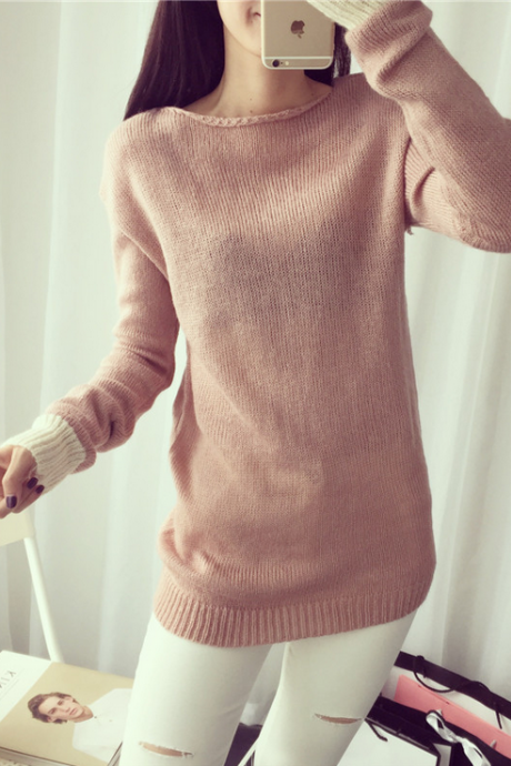 Fashion pure color long sleeve knitted sweater 1396294