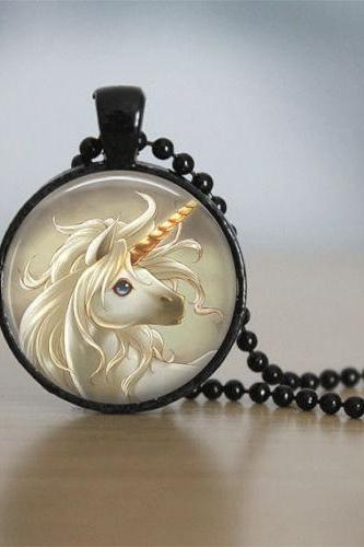 Glass Tile Necklace Unicorn Necklace Moon Necklace Tile Jewelry Fantasy