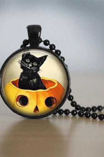 Halloween Necklace Halloween Jewelry Glass Tile Necklace Black Necklace Glass