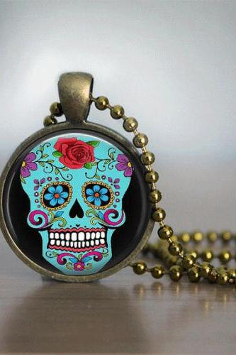 Sugar Skull Necklace Glass Tile Necklace Sugar Skull Jewelry Glass Tile Jewelry