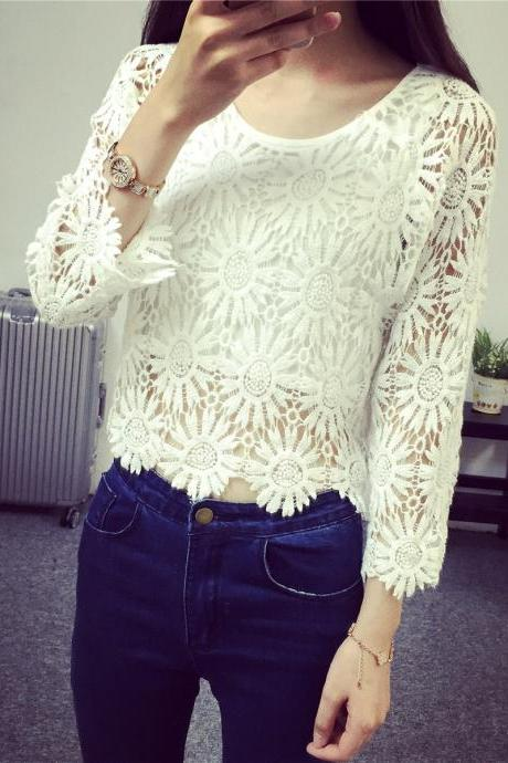Fashion Round Collar Hollow-Out Lace Tops