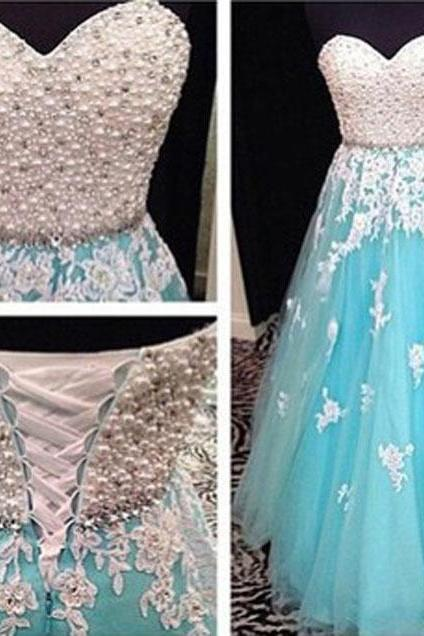 Sweetheart Prom Dress Beading Prom Dress Appliques Prom Dress A-Line Prom Dress
