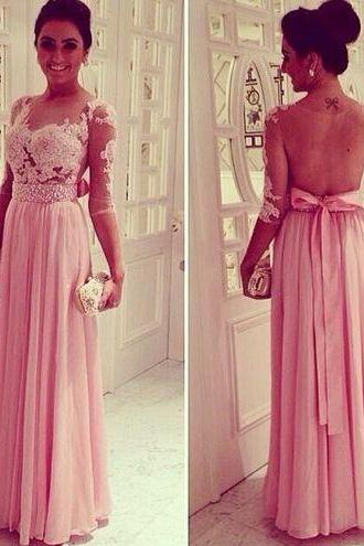 Custom Made Pink Prom Dress Formal Dresses Elegant Evening Dress Long Evening Dress Lace Sheer Party Dresses Prom 2015