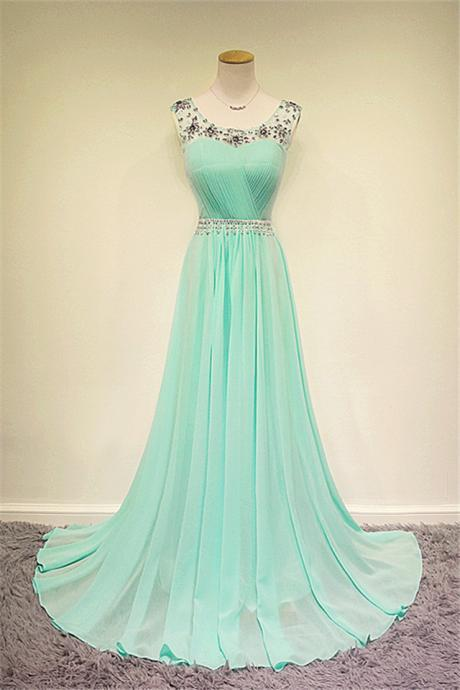 Custom Beaded Long Prom Dress Formal Dress Evening Dress Party Press Wedding Party Dress Mint Bridesmaid Dress Mint Prom Dresses Mint Dresses Weddings
