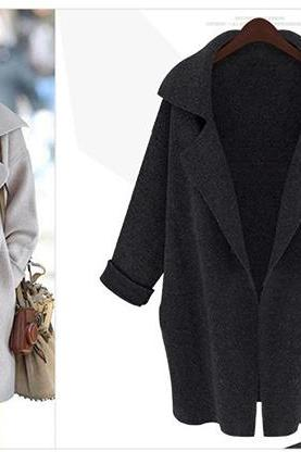 Oversized Wool Lapel Coat with Rolled Up Sleeves
