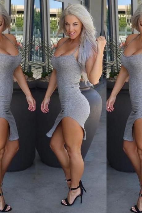 Sexy Women Sleeveless Bandage Bodycon Slim Evening Cocktail Party Club Dress