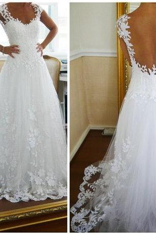 Custom Made Long Ball Gown Lace Wedding Dresses Wedding Gowns Formal Dresses Backless Lace Wedding Dresses