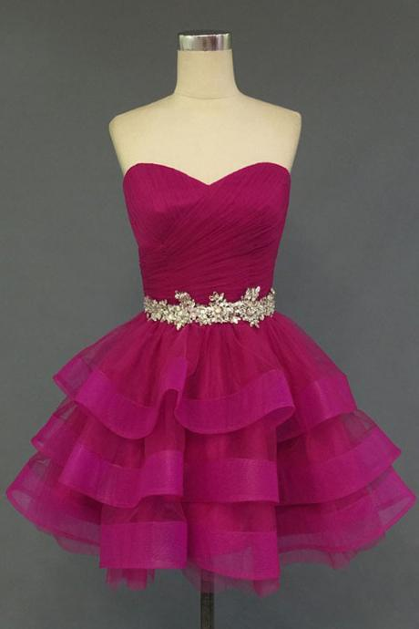 Lovely Ball Gown Tulle Sweetheart Short Prom Dresses, Homecoming Dresses 2015, Formal Dresses