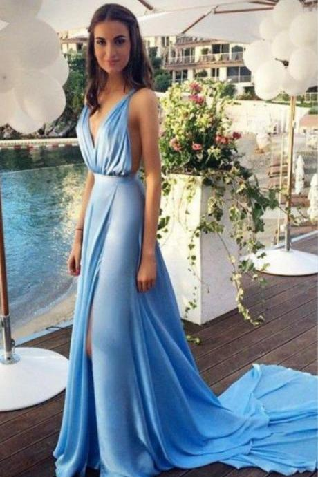 2015 Sexy Straps A Line V Neck Blue Long Prom Dress,Formal Dress,Custom Made Prom Dress,Dress For Prom,Evening Dress On Sale