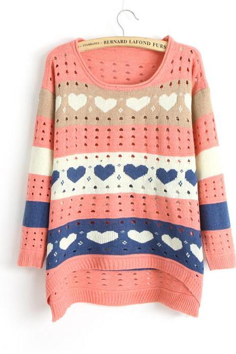 Cute Love Style Hollow Loose Women Knitting Sweater - Pink