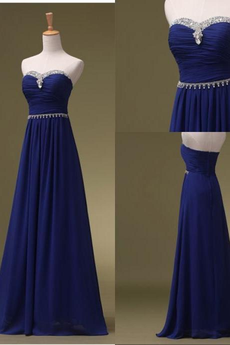 Royal Blue Prom Dresses, Long Bridesmaid Dresses, Long Evening Dresses, Strapless Evening Gowns, Formal Dress, Party Dresses Custom, PM630