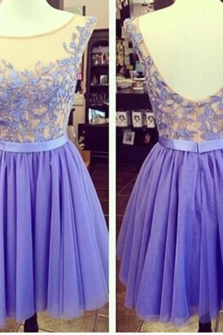 Charming Homecoming Dress A-Line Homecoming Dress Appliques Homecoming Dress O-Neck Short Prom Dress