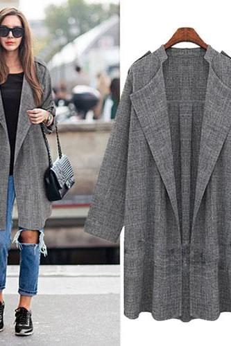 Sleeves Leisure Lapel Collar Fat Lady Cardigan Coat