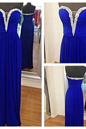 Custom Made A Line Sweetheart Neckline Long Blue Prom Dresses, Long Evening Dresses
