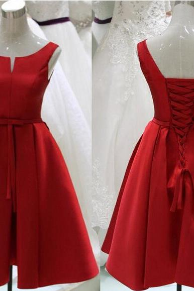 Pretty Red Sation Short Red Lace-Up Prom Dresses, Short Red Formal Dresses, Graduation Dresses, Red Homecoming Dresses