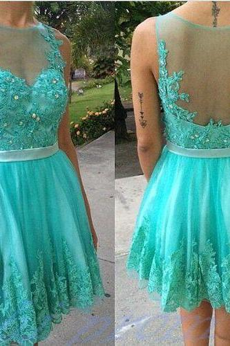 Turquoise Homecoming Dress With Lace Short Prom Gown Backless Homecoming Gowns Open Backs Homecoming Dress Cute Homecoming Dresses 2015 Evening Dress
