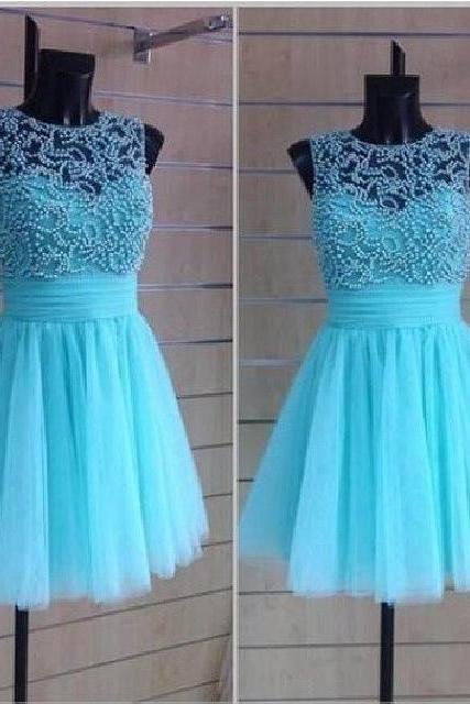 Blue Tulle Knee Length Prom Dresses With Beadings Blue Formal Dresses Tulle Blue Party Dresses
