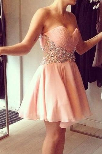 High Quality Handmade A-Line Chiffon Backless Prom Gown Pretty Pearl Pink Mini Chiffon Prom Dress With Beadings