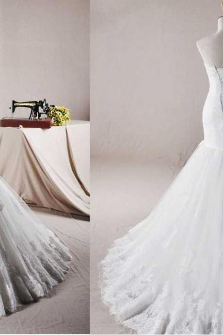 STRAPLESS TRUMPET / MERMAID NET WEDDING DRESS Wedding Dress Bridal Dress Gown Wedding Gown Bridal Gown Lace Bridal Dress