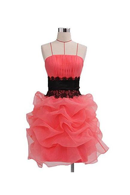 Watermelon Organza Strapless Black Lace Belt Mint Cocktail Dress, Short Homecoming Dresses, Dress Prom Short