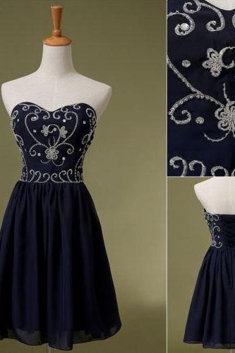 Elegant Navy Blue Chiffon Sweetheart Embroidery And Beaded Short Homecoming Dress, A Line Sexy Short Dress Prom