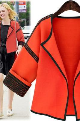 Fashion Color Block Coat For Women